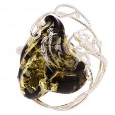 """Кольцо """"Хозяйка медной горы"""" янтарь серебро 925 Ag 176"""