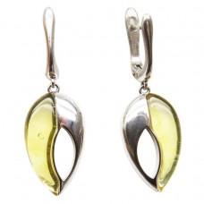 Серьги янтарь серебро 925 Ag 112