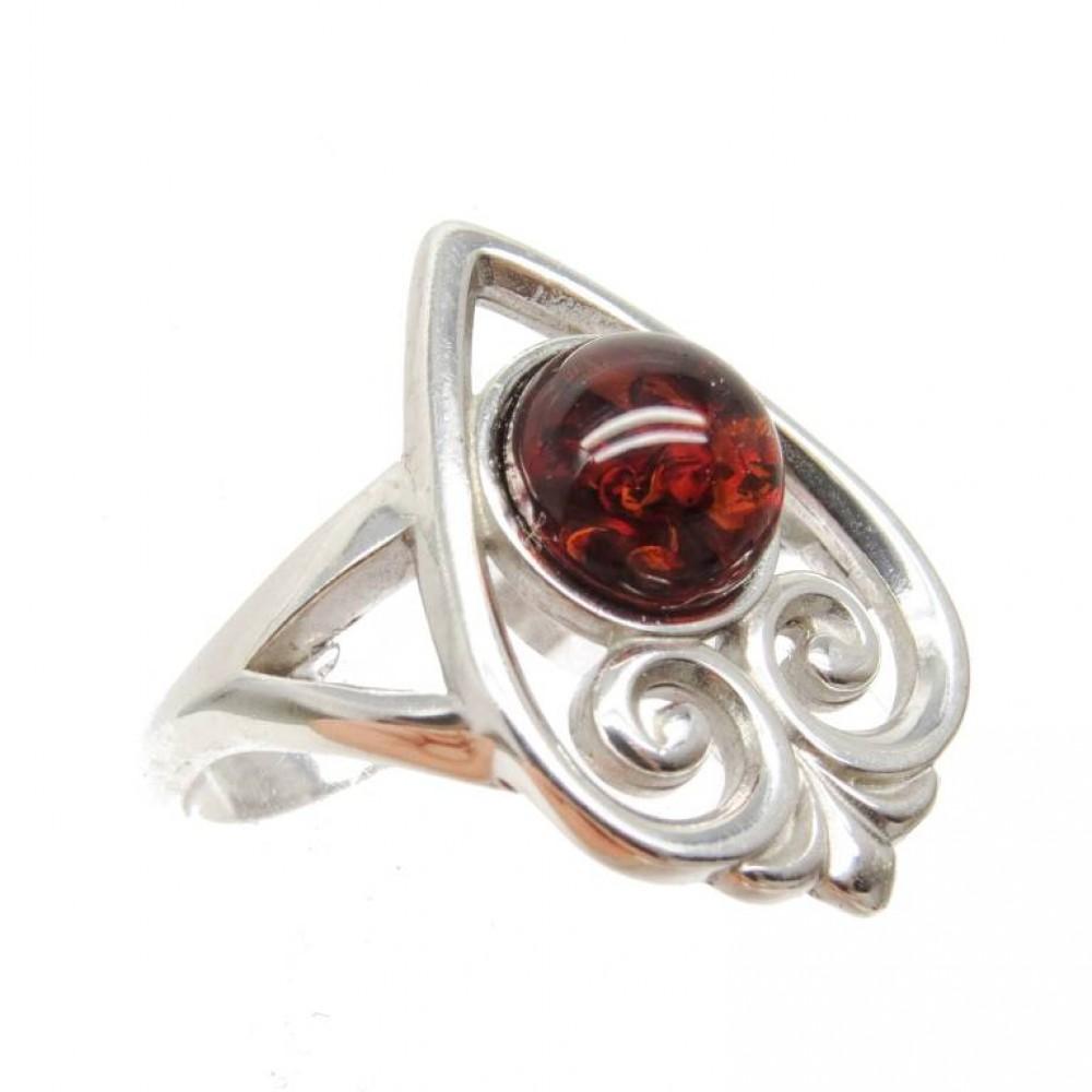 Кольцо янтарь коричневый серебро 925 Ag 114