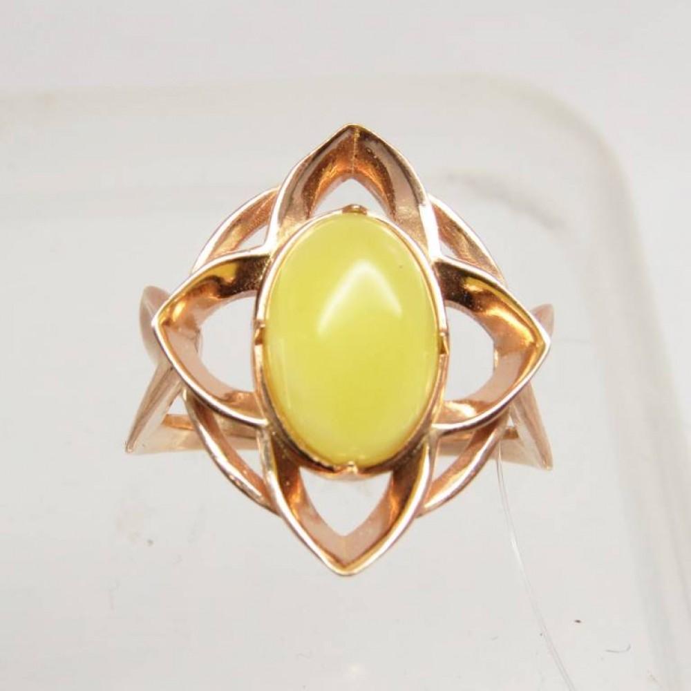 Кольцо янтарь лимонный серебро 925 Ag позолота 117