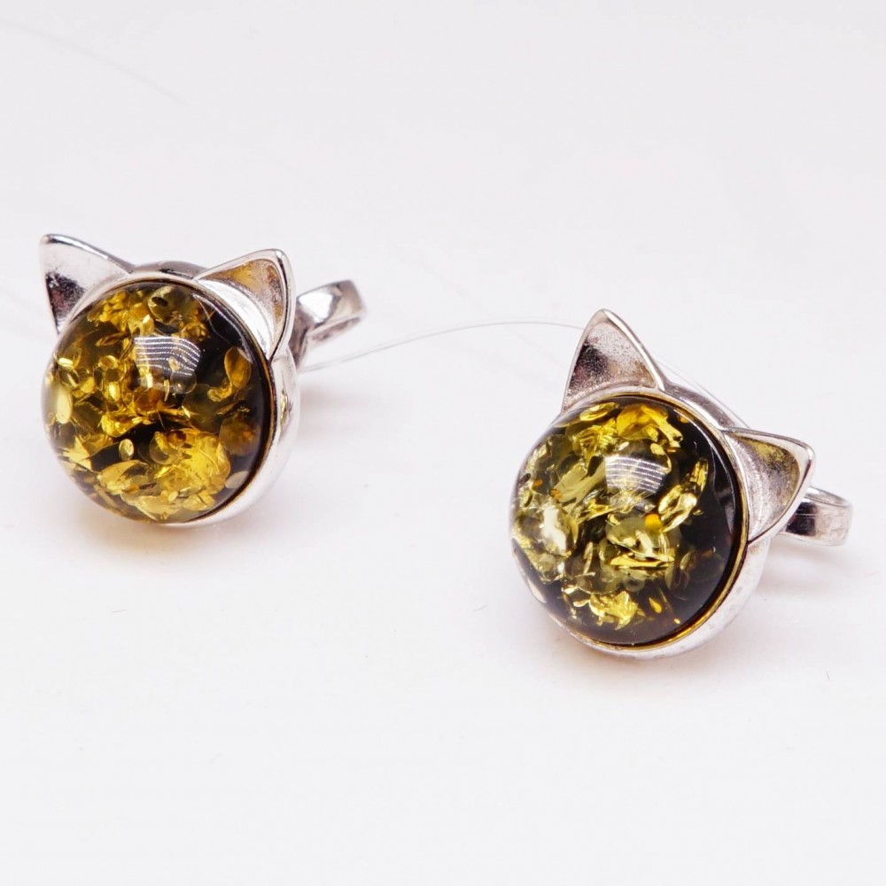"""Серьги гвоздики """"Котята"""" янтарь зелёный серебро 925 Ag 123"""