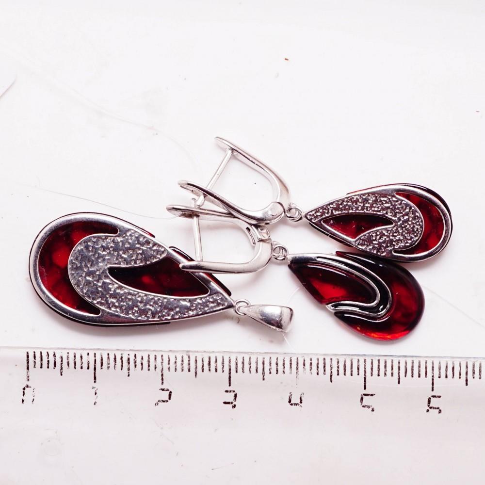 Подвеска янтарь эмаль серебро 925 Ag 129