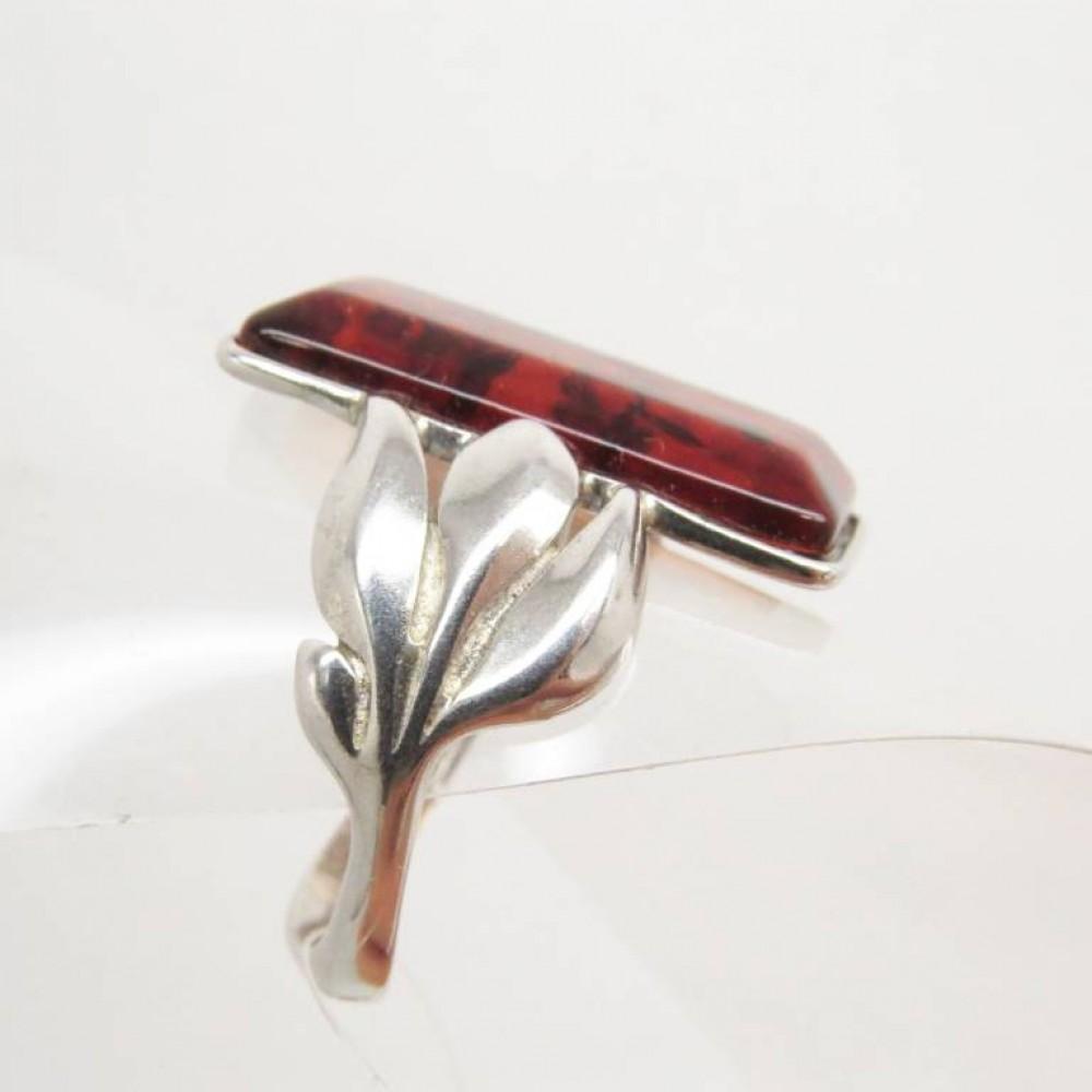 Кольцо янтарь натуральный серебро 925 Ag 136