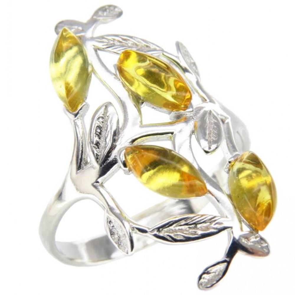 """Кольцо """"Мечта"""" янтарь натуральный лимонный серебро 925 Ag 140 Р18.5"""