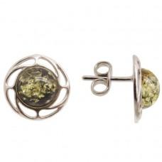 Пусеты серьги гвоздики янтарь натуральный зелёный серебро 925 Ag 143
