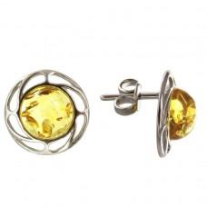 Пусеты серьги гвоздики янтарь натуральный лимонный серебро 925 Ag 143