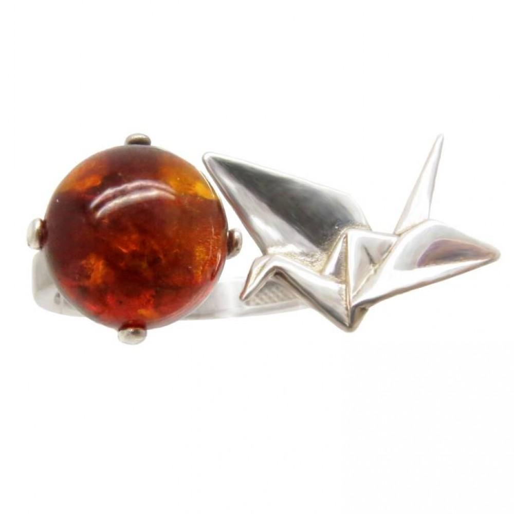 """Кольцо """"Оригами"""" янтарь натуральный серебро 925 Ag 144"""