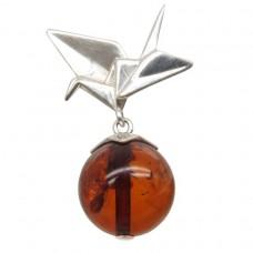 """Подвеска """"Оригами"""" янтарь натуральный серебро 925 Ag 144"""