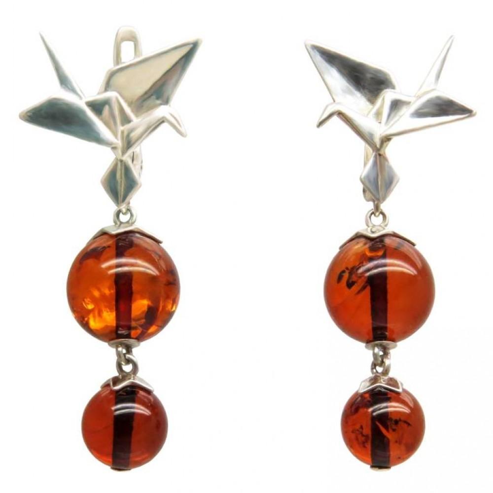 """Серьги """"Оригами"""" янтарь натуральный серебро 925 Ag 144"""