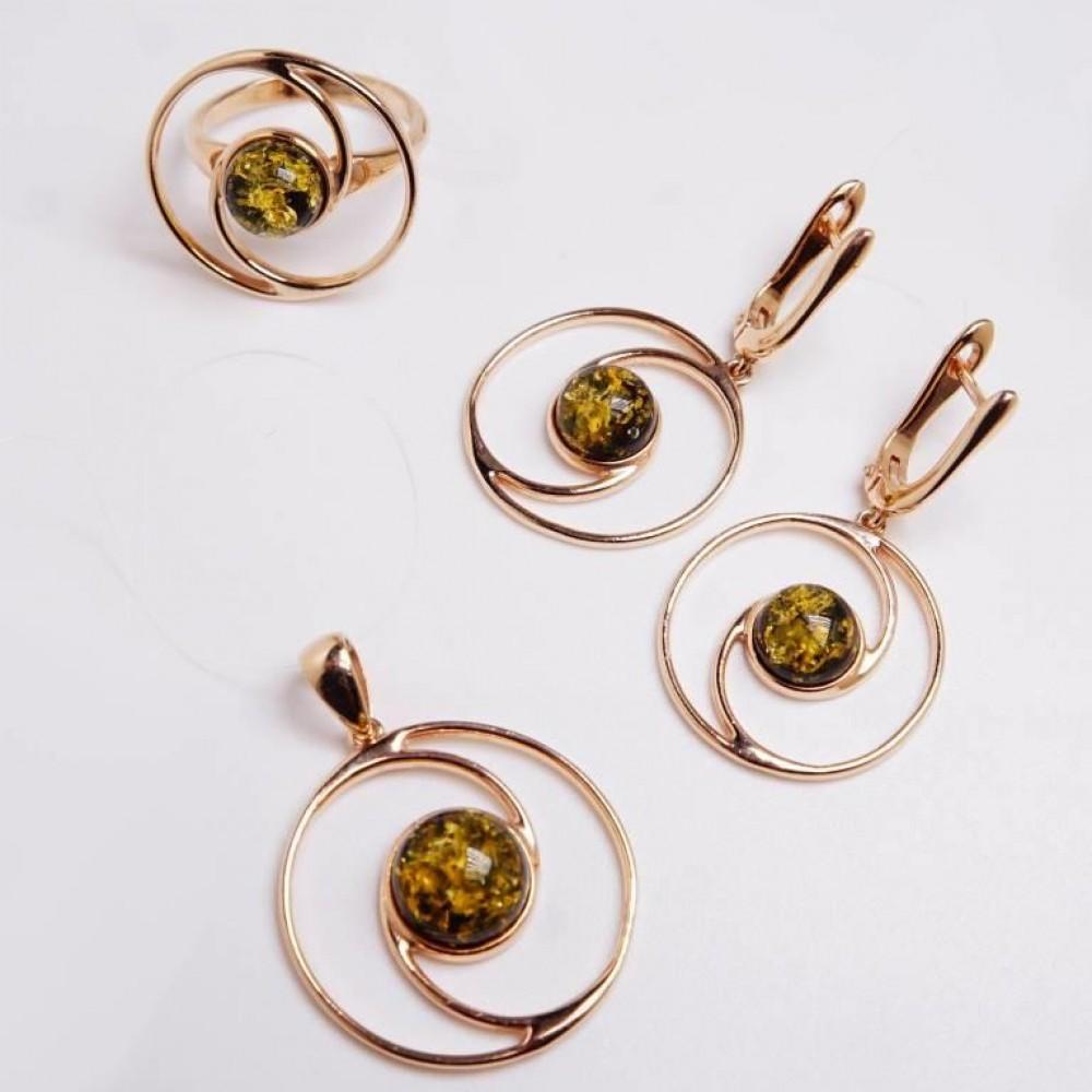 Серебряная подвеска янтарь зелёный  серебро 925 Ag 149