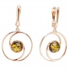 Серебряные серьги янтарь зелёный серебро 925 Ag 149