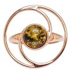 Серебряное кольцо янтарь зелёный серебро 925 Ag 149
