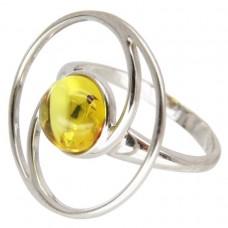 Серебряное кольцо янтарь лимонный серебро 925 Ag 149