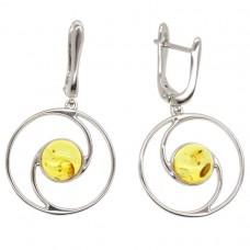 Серебряные серьги янтарь лимонный серебро 925 Ag 149