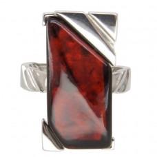 Серебряное кольцо янтарь вишнёвый серебро 925 Ag 151