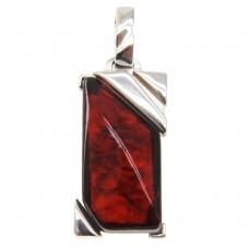 Серебряная подвеска янтарь вишнёвый серебро 925 Ag 151
