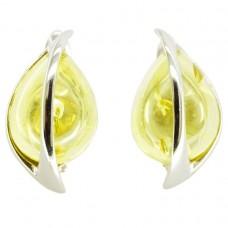 Серьги янтарь лимонный серебро 925 Ag 153