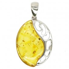 """Яркая серебряная подвеска """"Модерн"""" с янтарём лимонным 925 Ag 154"""