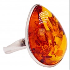 Кольцо янтарь натуральный серебро 925 Ag безразмерное 165.53