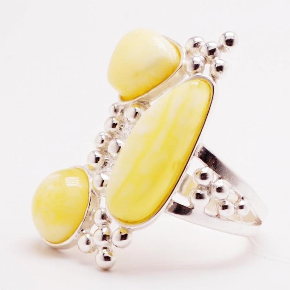 Кольцо янтарь королевский серебро 925 Ag 166
