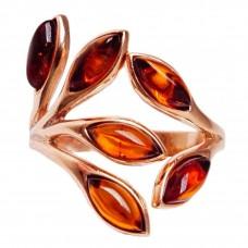 """Кольцо """"Листья"""" безразмерное янтарь коричневый серебро 925 Ag 174"""