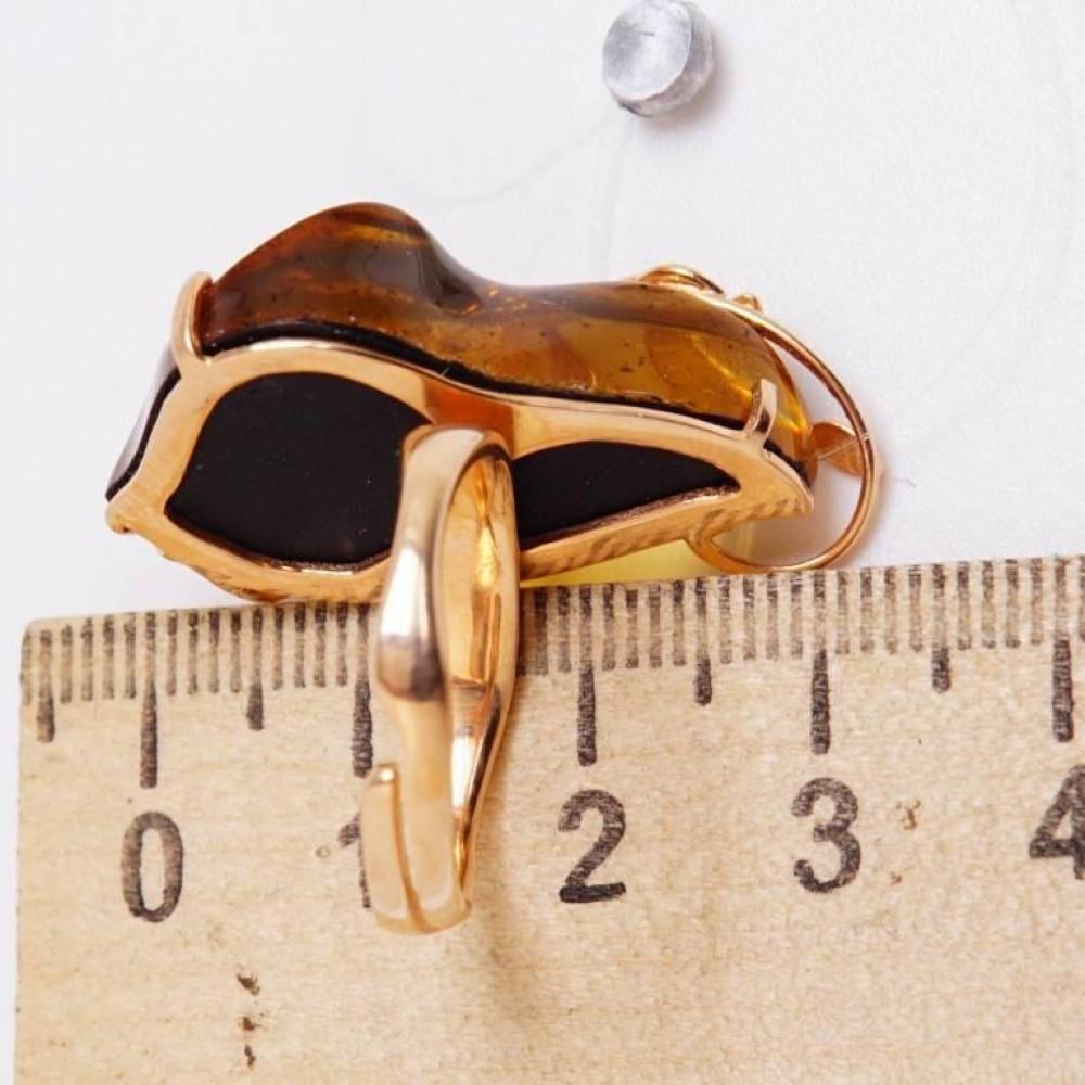 Изящное кольцо позолоченное серебро янтарь 925 Ag 183