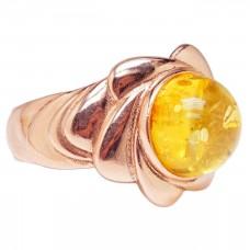 """Кольцо """"Лантана"""" из позолоченного серебра янтарь зелёный 925 Ag 184"""