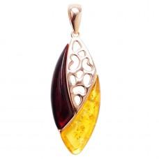 Подвеска серебряная 925 Ag позолота янтарь вишневый лимонный 186
