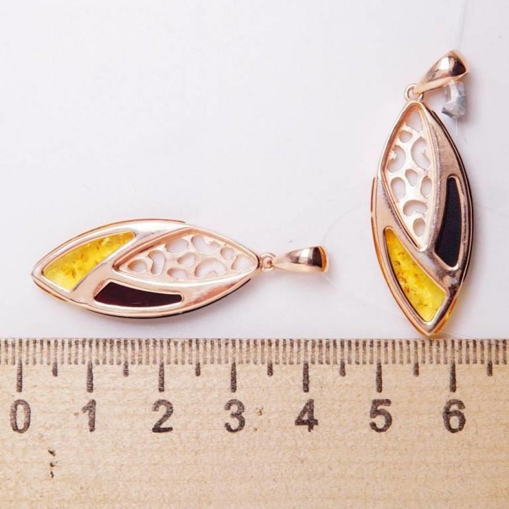 Подвеска серебряная 925 Ag позолота янтарь зелёный лимонный 186