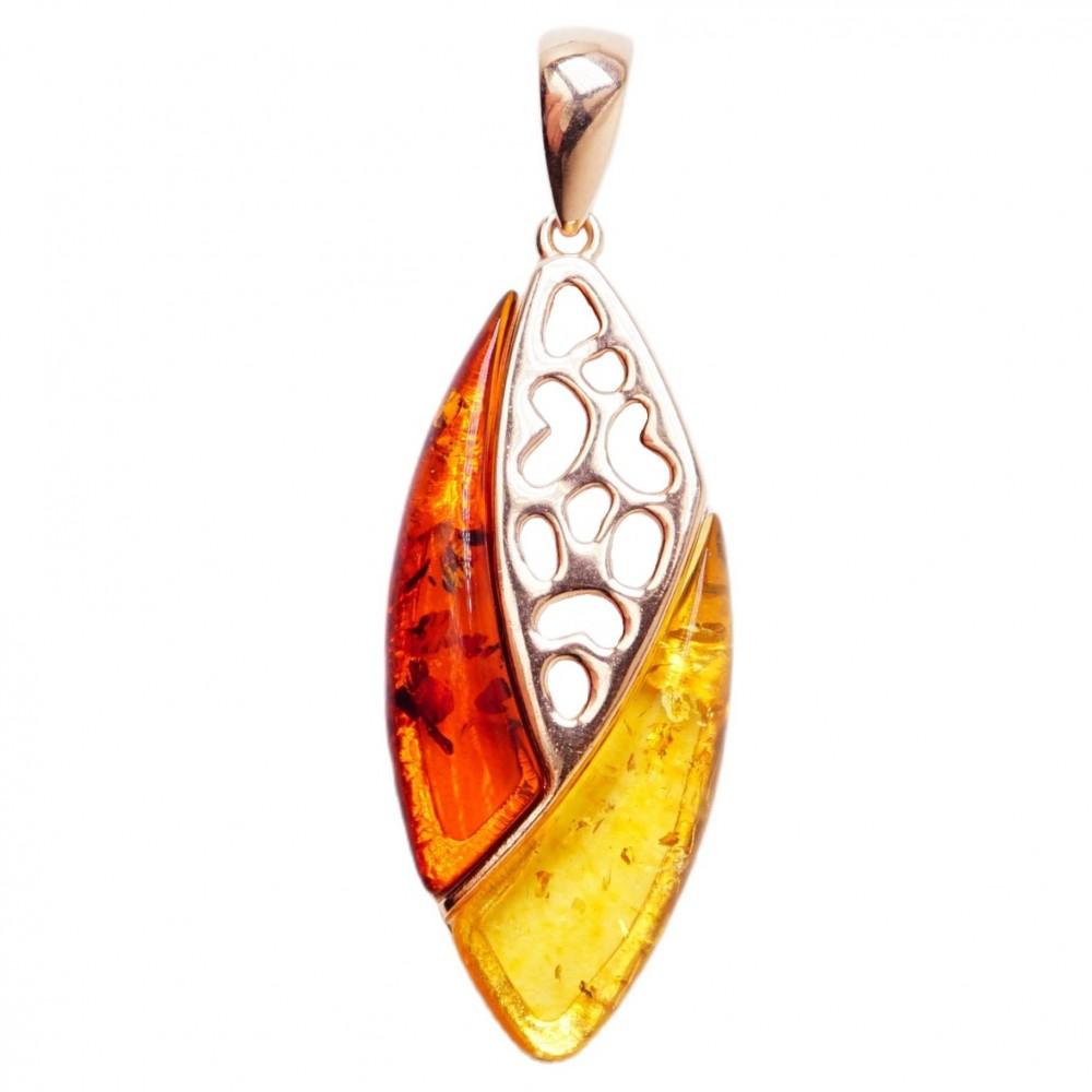Подвеска серебряная 925 Ag позолота янтарь коричневый лимонный 186
