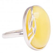 Кольцо королевский янтарь серебро 925 Ag безразмерное 188