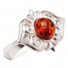 "Кольцо ""Кармиэлла"" янтарь серебро 925 Ag 190"