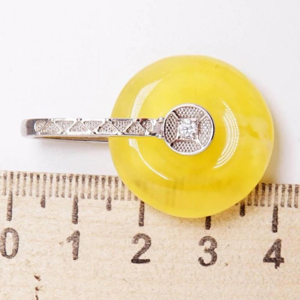 Серебряная подвеска 925 Ag янтарь пейзажный 192