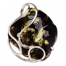 Кольцо ручной работы янтарь серебро 925 Ag 194