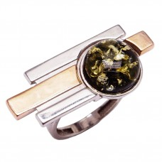 "Кольцо серебряное ""Сэмпре"" янтарь зелёный 925 Ag 195"