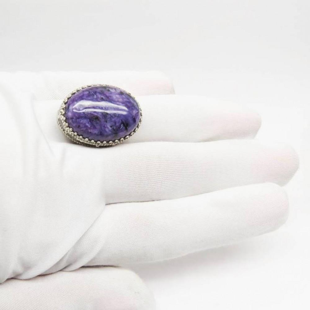 Кольцо Серебро 925 Чароит натуральный 62-32