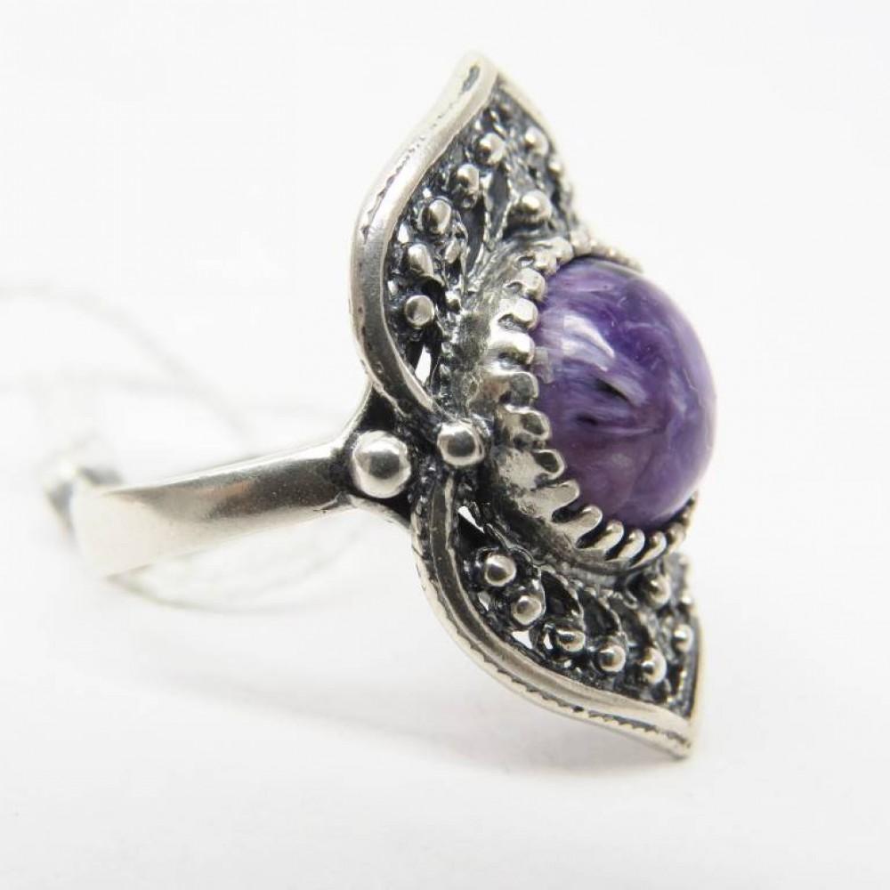 Кольцо Чароит натуральный Серебро 925 Р18 70