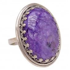 Кольцо Серебро 925 Чароит натуральный 177