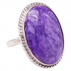 Серебряное кольцо чароит натуральный 925 Ag 196