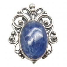 Кольцо филигранное Кианит синий серебро 925 Ag Р18 S79