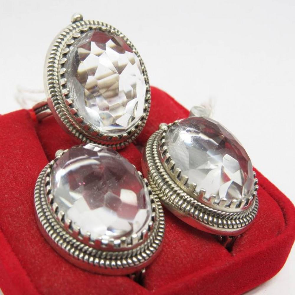 Кольцо Горный хрусталь серебро 925 Р19 S96
