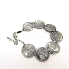Браслет монеты Николай 2 посеребрение 12 мк 1068