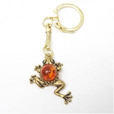 """Брелок для ключей """"Лягушка"""" янтарь бронза стразы 1360"""