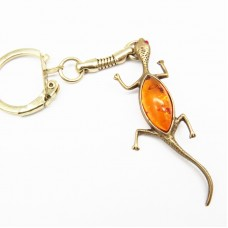 """Брелок для ключей """"Ящерица"""" янтарь бронза стразы 1362"""