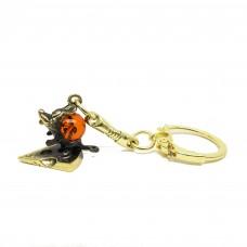 Брелок для ключей Мышь на сыре янтарь бронза 2000