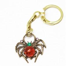 Брелок для ключей Паучок янтарь бронза стразы 421