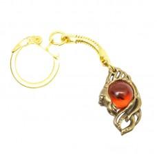 """Брелок для ключей """"Золотая Рыбка"""" Янтарь в бронзе 566"""