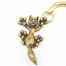 Брелок для ключей Кошка игривая латунь бронза 1435