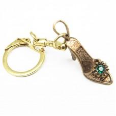 Брелок для ключей Туфелька страз бронза 1353