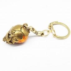 Брелок для ключей Череп Янтарь в бронзе 1364